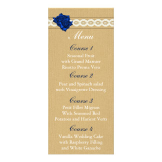 burlap and navy blue rose mason jar wedding menu