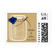 burlap and navy blue rose mason jar wedding stamps
