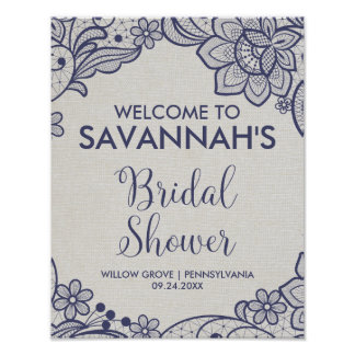 Burlap and Navy Lace Floral Bridal Shower Welcome Poster