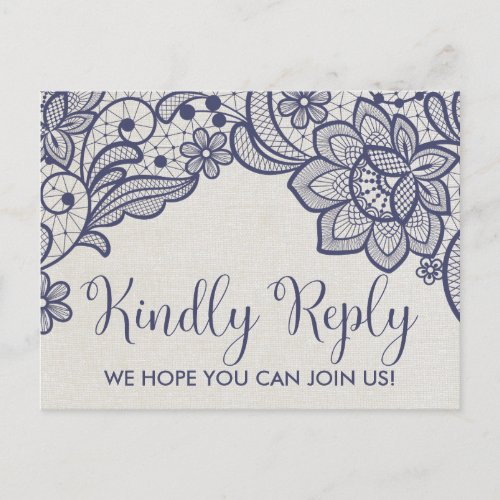 Burlap and Navy Lace | Floral Song Request RSVP Invitation Postcard