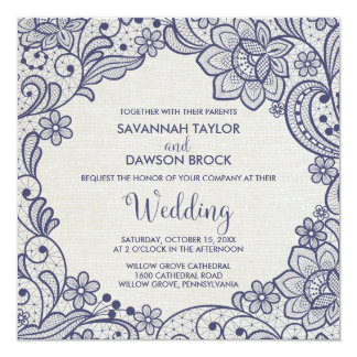 Burlap and Navy Lace | Floral Square Wedding Card