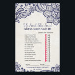 """Burlap and Navy Lace &quot;He Said She Said&quot; Game Flyer<br><div class=""""desc"""">This burlap and navy lace &quot;he said she said&quot; game is perfect for a country chic theme bridal shower. The front of the game card features &quot;he said she said&quot; which is a fun quiz about the bride and groom. The back of the card features a word find with wedding...</div>"""