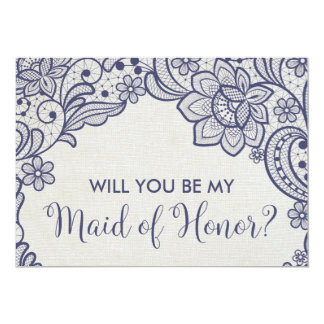 Burlap and Navy Lace Will You Be My Maid of Honor Card