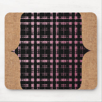 Burlap and Pink Black Modern Plaid Netted Ombra Mouse Pad