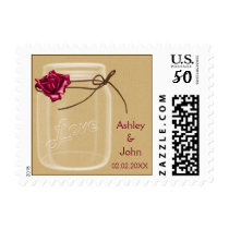 burlap and pink rose mason jar wedding stamps