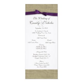 "Burlap and Purple Bow Wedding Program 4"" X 9.25"" Invitation Card"