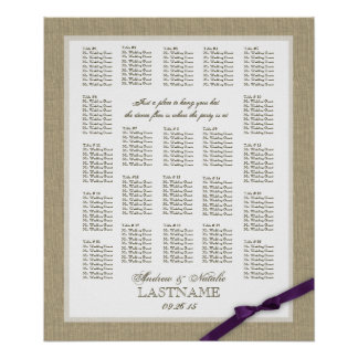 Burlap and Purple Bow Wedding Seating Chart
