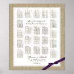 Burlap and Purple Bow Wedding Seating Chart Print