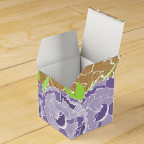 Burlap and Purple Floral Personalized favor boxes