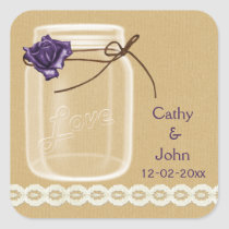 burlap and purple rose mason jar envelope seals