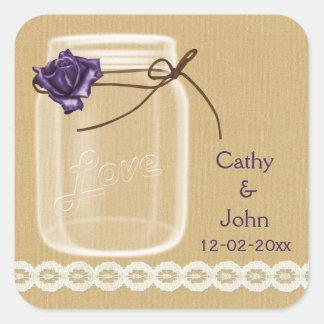 burlap and purple rose mason jar envelope seals