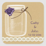 burlap and purple rose mason jar envelope seals square stickers