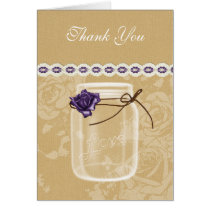 burlap and purple rose mason jar thank you card