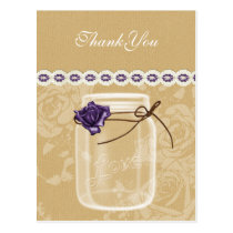 burlap and purple rose mason jar thank you postcard