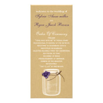 burlap and purple rose mason jar wedding program