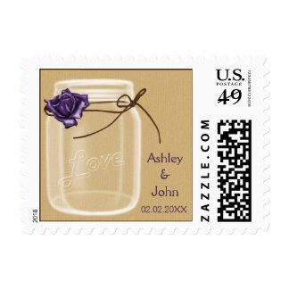 burlap and purple rose mason jar wedding stamps