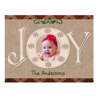 Burlap and Red Chevron Christmas Photo Card Postcard