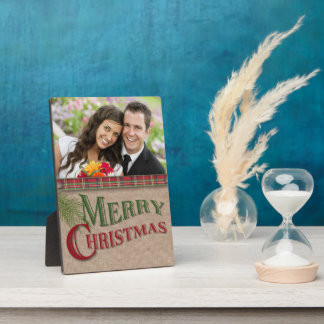 Burlap and Red Plaid Christmas Photo Plaque