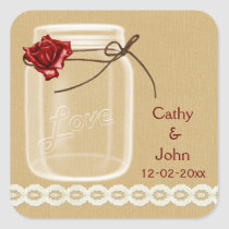 burlap and red rose mason jar envelope seals