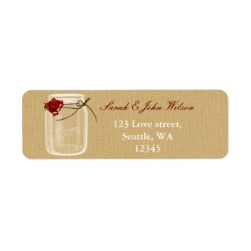 burlap and red rose mason jar return address label
