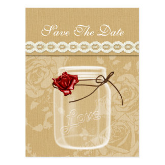 burlap and red rose mason jar save the date post card