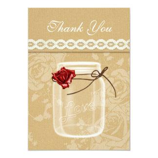 burlap and red rose mason jar thank you card