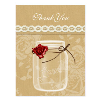 burlap and red rose mason jar thank you postcard