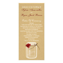 burlap and red rose mason jar wedding program