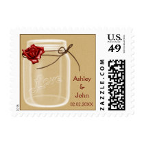 burlap and red rose mason jar wedding stamps