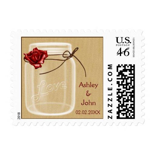 burlap and red rose mason jar wedding stamps