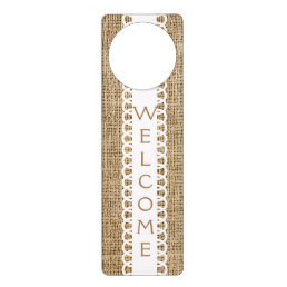Burlap and Ribbon Design Welcome Door Hanger