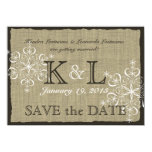Burlap and Snowflakes Save the Date Card