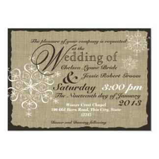 Burlap and Snowflakes Wedding  5 x 7 Card