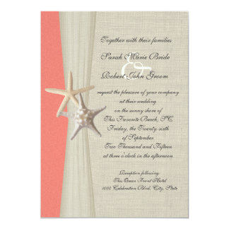 Burlap And Starfish Shell Coral Beach Wedding Card