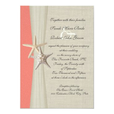 Beach Themed Burlap and Starfish Shell Coral Beach Wedding Card