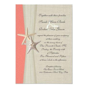 happygotimes Burlap and Starfish Shell Coral Beach Wedding Card