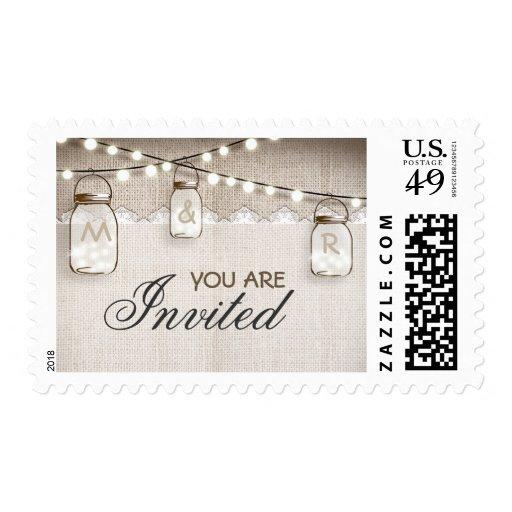 Burlap and string lights mason jars stamps