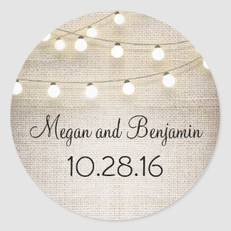 Burlap and String Lights Rustic Classic Round Sticker