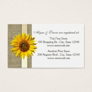 Burlap and sunflower Bridal Registry Card