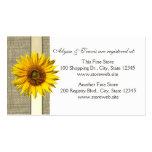 Burlap and sunflower Bridal Registry Card Double-Sided Standard Business Cards (Pack Of 100)