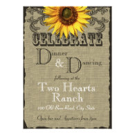 Burlap and Sunflower Dinner and Dancing Announcement
