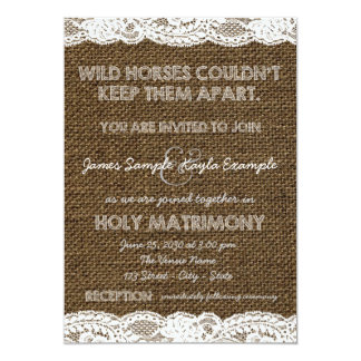 Burlap and White Lace Wedding Card