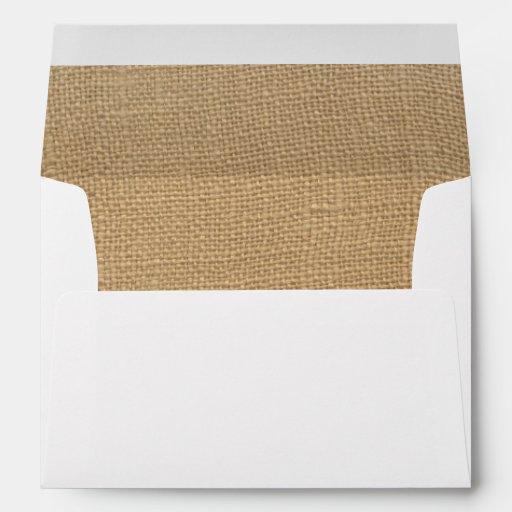 Burlap Antique White  Lace Wedding 5x7 Envelope