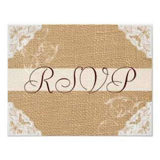 Burlap Antique White Lace Wedding RSVP Announcements