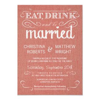 Burlap Apricot Rustic Wedding Invitations