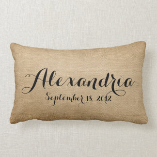 Burlap Baby Birth Date Name Heaven Sent Throw Pillow