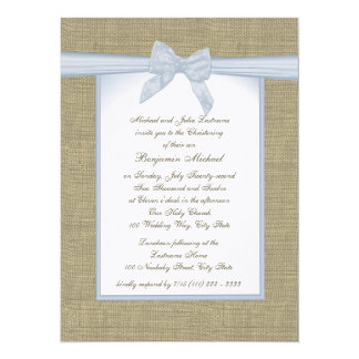 Burlap Baby Blue Christening 5.5x7.5 Paper Invitation Card