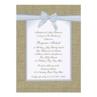 Burlap Baby Blue Christening Custom Invitation