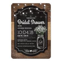 Burlap Baby Breath Wooden Wedding Bridal Shower Invitations