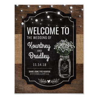 Burlap Baby Breath Wooden Wedding | Hashtag Poster